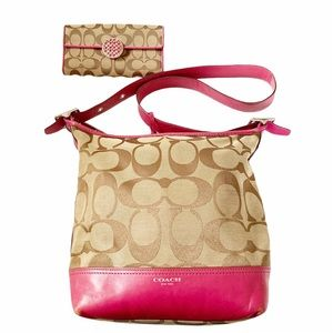 Coach Legacy Signature Duffle Purse Bag & Wallet
